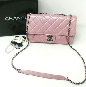 Auth CHANEL Metallic Pink / Lavender Flap Bag